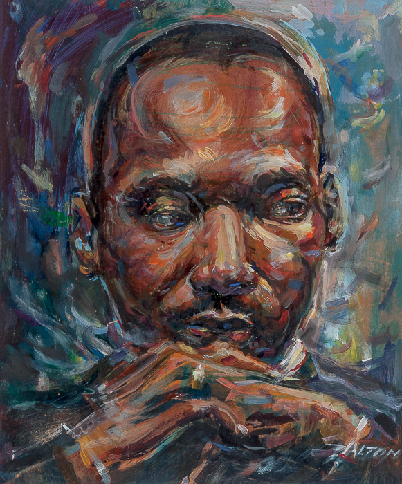 Acrylic painting portrait of Martin Luther King Jr. by Dalton Brown